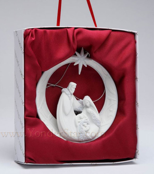 Nativity Scene Ornament White Porcelain