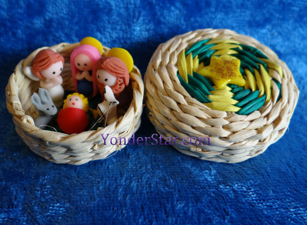 Small nativity in basket