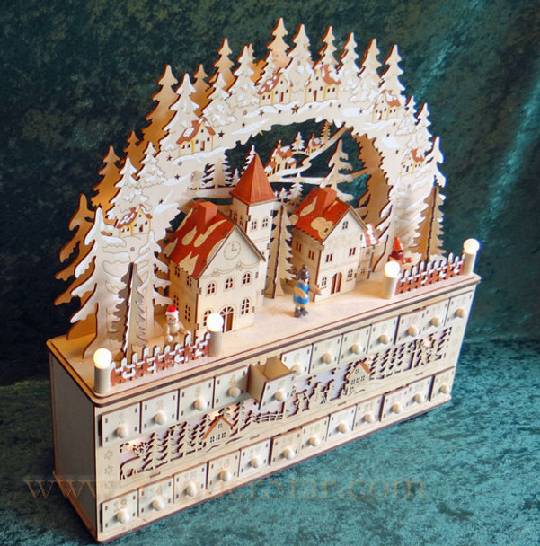 Lighted Wooden Advent Calendar Winter Wonderland : Pre-Order