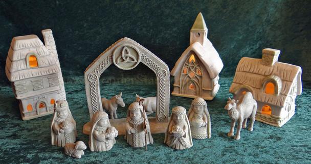 Lighted Celtic Nativity Scene and Village