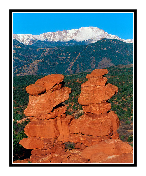 Pikes Peak over Siamese Twins in Garden of the Gods in Colorado Springs, Colorado 291