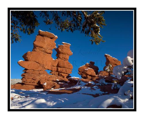 Siamese Twins Covered in Snow in Garden of the Gods in Colorado Springs, Colorado 2423