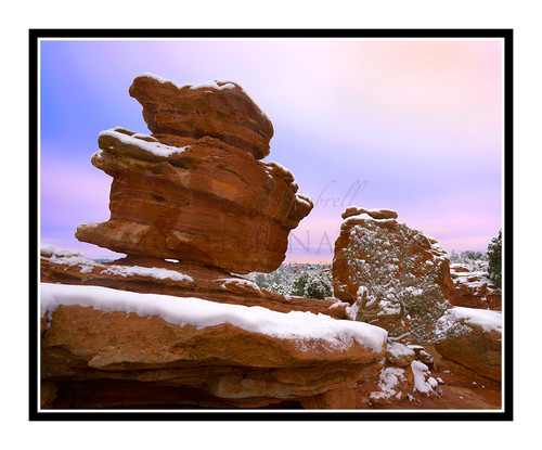 Balanced Rock with Snow in Garden of the Gods in Colorado Springs, Colorado 2377