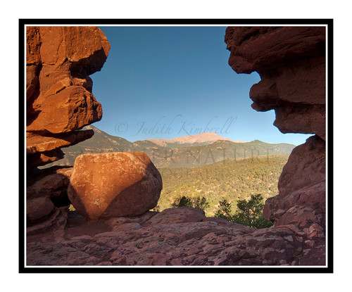 Pikes Peak Through the Siamese Twins in Garden of the Gods in Colorado Springs, Colorado 2044