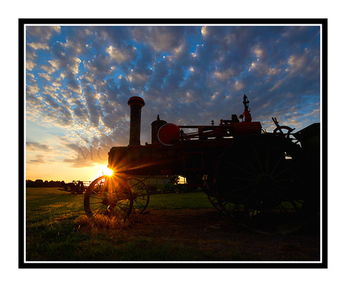 Antique Tractor Against a Vibrant Sunset in Salina, Kansas 2669