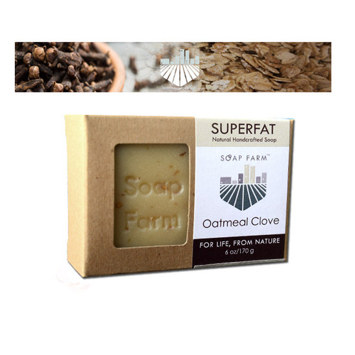 SUPERFAT Natural Handcrafted Soap Oatmeal-Clove 6 oz bar
