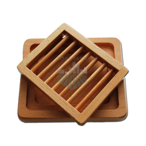All wood ladder soap dish with tray