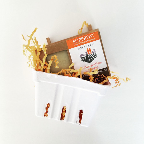 Superfat Handcrafted Natural Soap & Soap Dish Farm Basket Gift Set