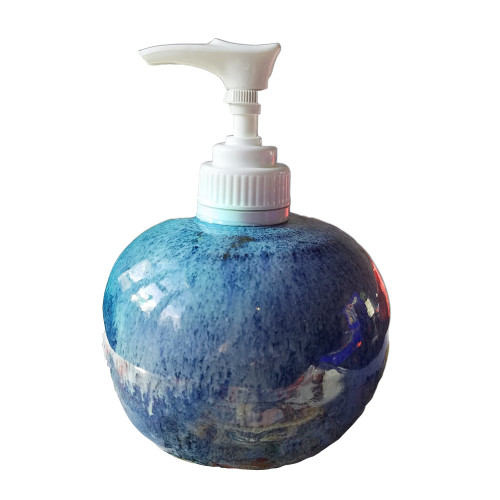 Handmade Blue pottery liquid soap dispenser