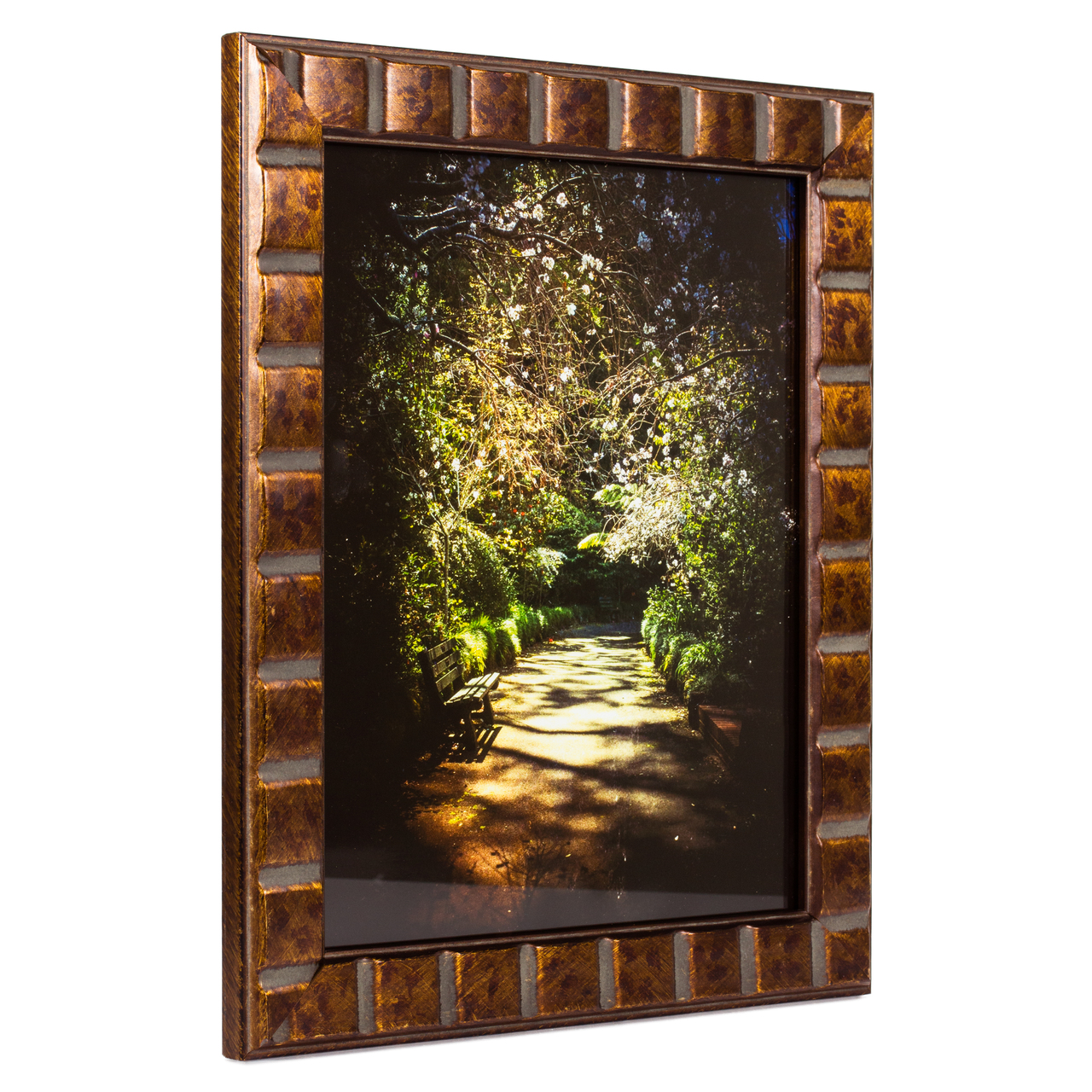 "Mosaic 1.375"", Aged Bronze Picture Frame"