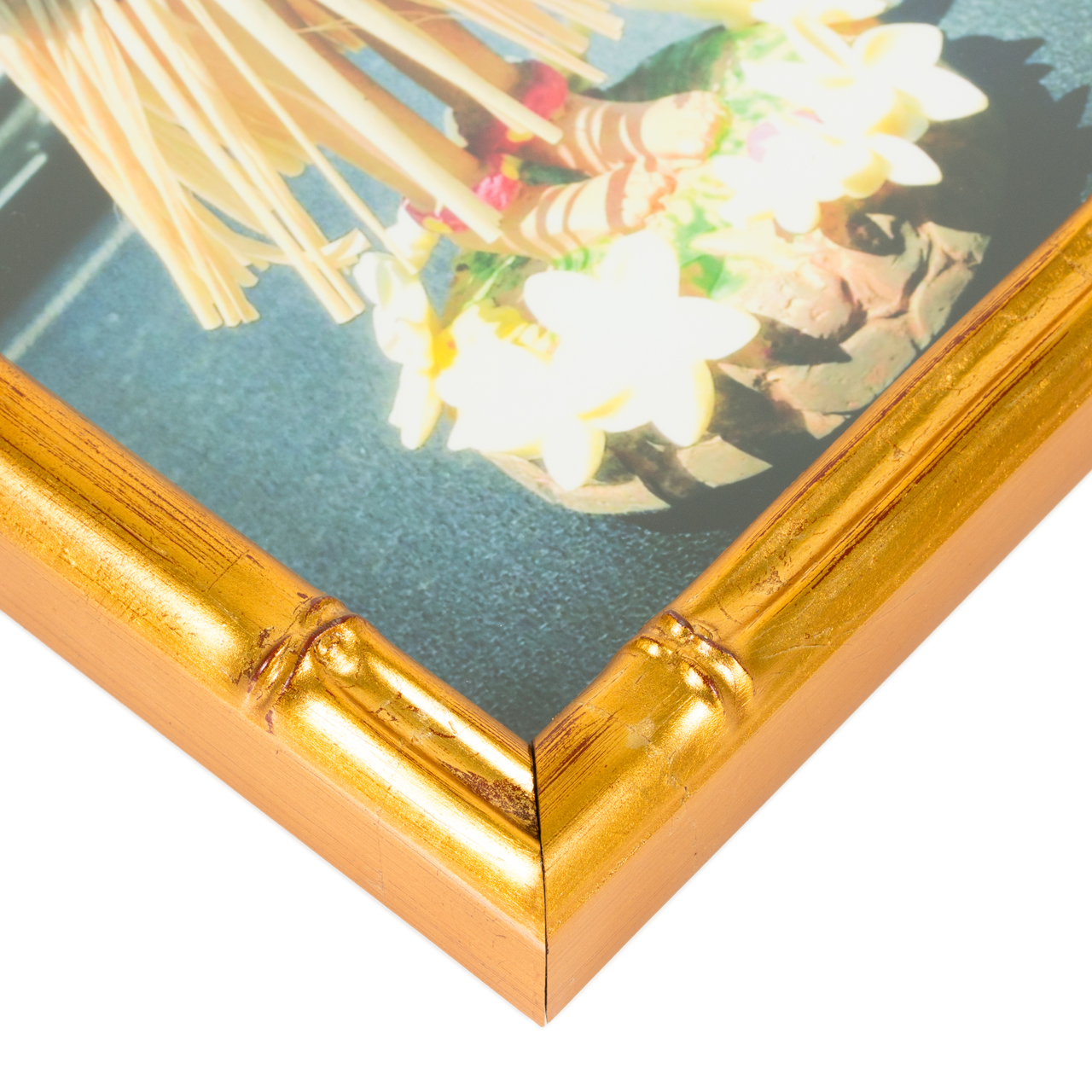 "Vintage Bamboo .625"", Brushed Gold Picture Frame"