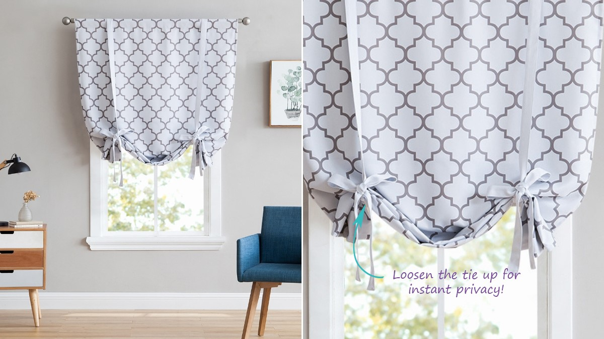 Balloon Tie Up Shade Curtains for Bathroom and Kitchen