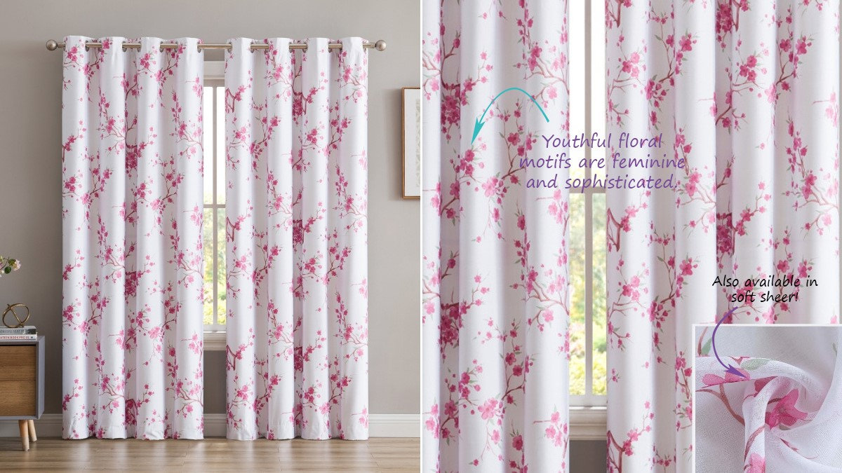Botanical Floral Blackout Window Curtains for Girl Room