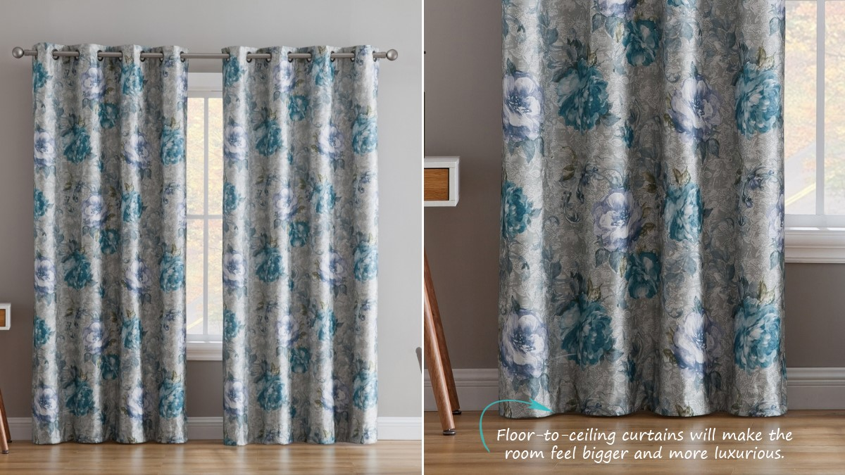 Floral Guestroom Blackout Thermal Curtains