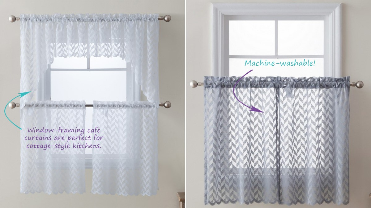 Herringbone Kitchen Cafe Curtains for Small Windows