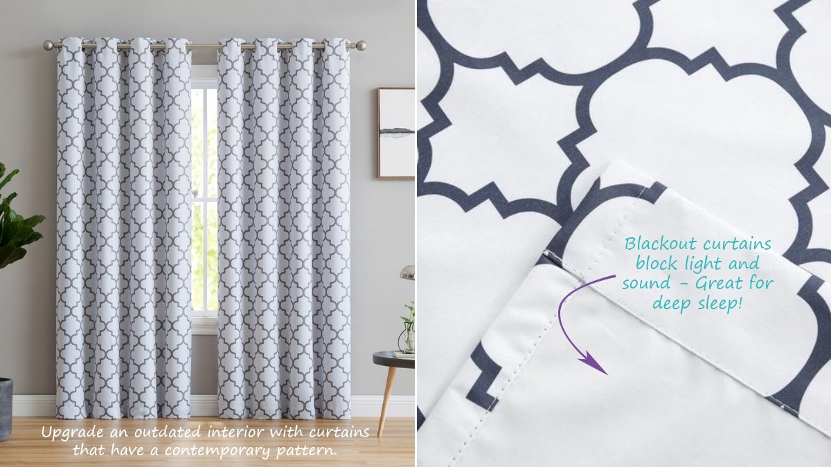 Moroccan Lattice Print Bedroom Blackout Curtains