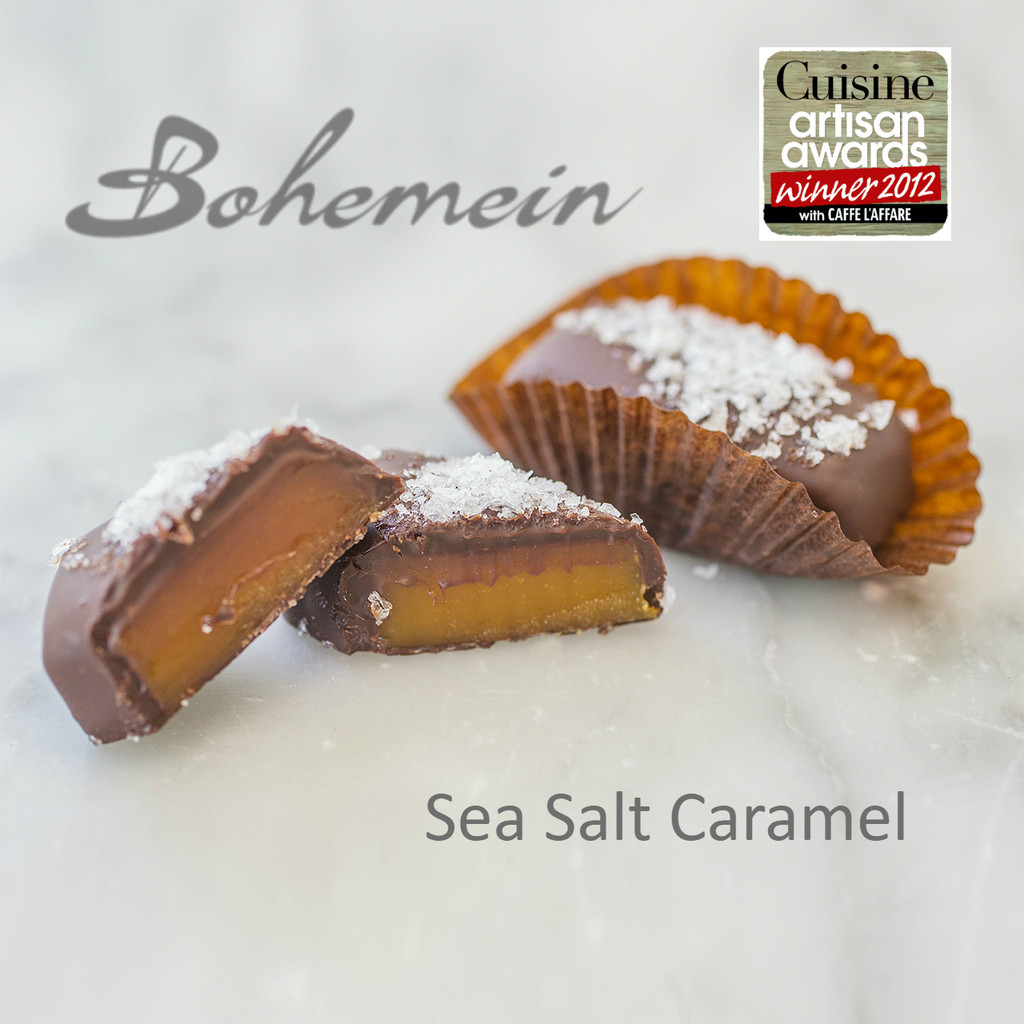 Bohemein Award Winning Sea Salt Caramel. The Sea salt tempers sweetness and heightens both chocolate and caramel flavours. This chewy French favourite is coated in dark chocolate.