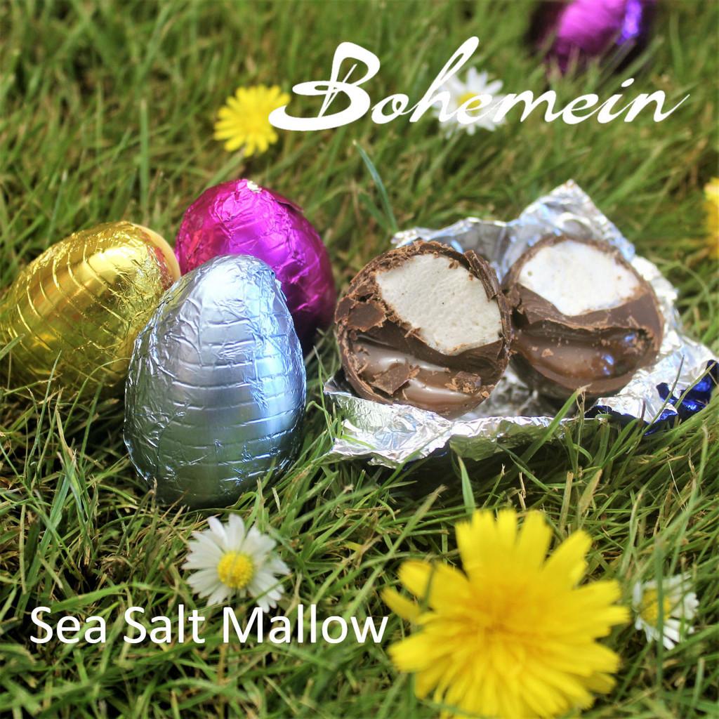 Bohemein Sea Salt-Mallow filled mini Egg.  Sea Salt Caramel and Vanilla Marshmallow