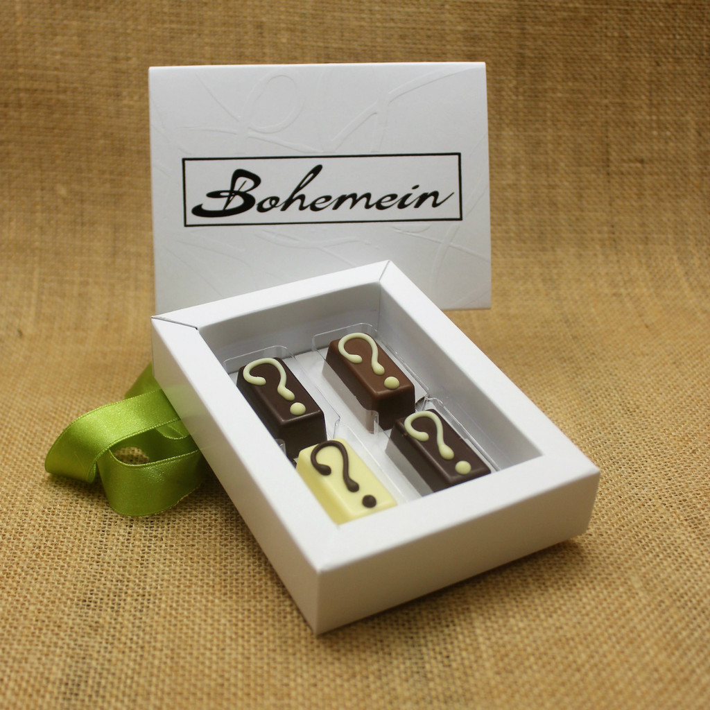 With Bohemein My Own Selection 4 chocolates  Gift Box you can add your personal touch, by making your own selection of 4 pieces from our complete range of chocolates.