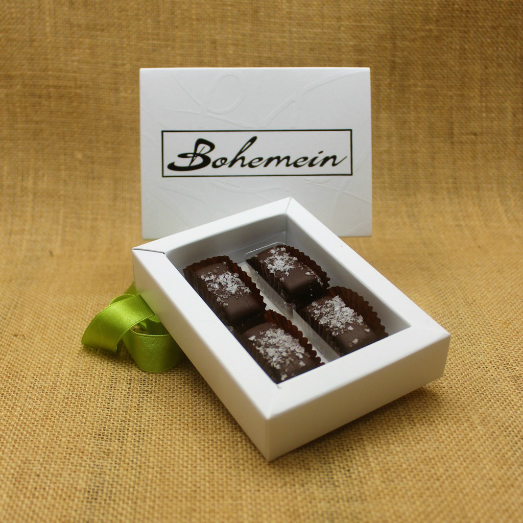 Bohemein 4 chocolate gift Box with 4 Award Winning Sea Salt Caramels.