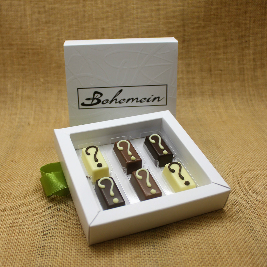 With Bohemein My Own Selection 6 chocolates  Gift Box you can add your personal touch, by making your own selection of 6 pieces from our complete range of chocolates.