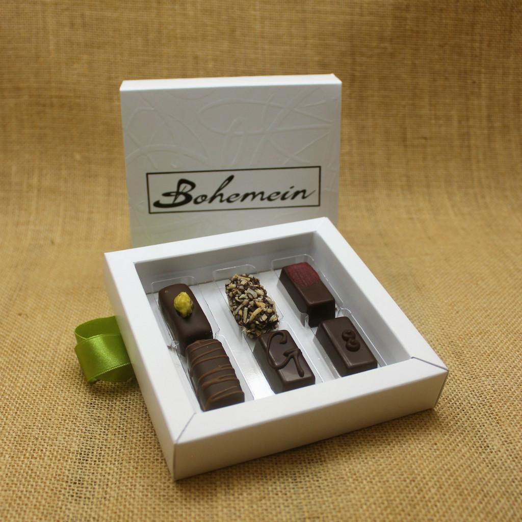 Bohemein 6 Dairy Free Chocolates Gift Box Includes: Pistachio Marzipan, Coconut Cream Truffle, Raspberry Ganache, Noisette (Hazelnut), Ginger Caramel, Creme de Menthe Fondant.