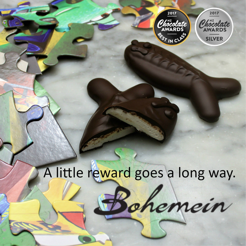 A little reward goes a long way. Award Winning Bohemein Chocolate Fish - Is batch made with fresh fluffy Vanilla marshmallow and lots of 53% dark chocolate.  The snap of the chocolate, and the light marshmallow inside makes it a great treat or reward.  Share me if you dare.