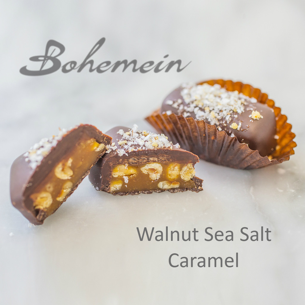 Bohemein Walnut Sea Salt Caramel. Nuggets of walnut suspended in chewy caramel and coated in dark chocolate. Sea salt tempers sweetness and heightens the chocolate and caramel flavours of this French favourite.