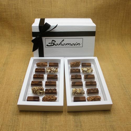 Bohemein 24  Milk Chocolates Gift Box includes: Chocolate Caramel x 4, Amaretto Truffle x 4, Cointreau Ganache x 4, Vanilla Cream - Milk x 4  Maple Cream x 4, Coffee Truffle x 4