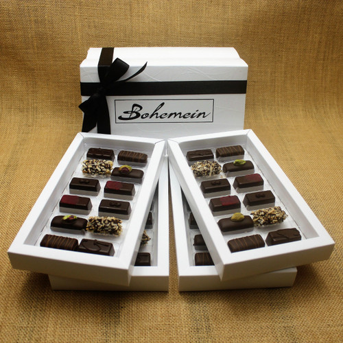 Bohemein 48  Dairy Free Chocolates Gift Box Includes: Noisette (Hazelnut) x8, Pistachio Marzipan x8, Raspberry Ganache x8, Creme de Menthe Fondant x8, Coconut Cream Truffles x8, Ginger Caramel x8