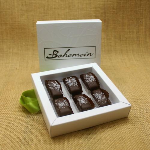 Bohemein 6 chocolate gift Box with 6 Award Winning Sea Salt Caramels.