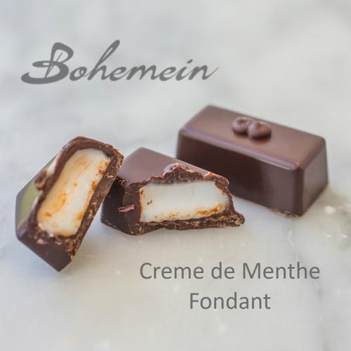 Bohemein Creme de Menthe Fondant. A sweet fondant flavoured with crème de menthe, a classic peppermint liqueur, encased in a bitter dark chocolate shell. Dairy FREE