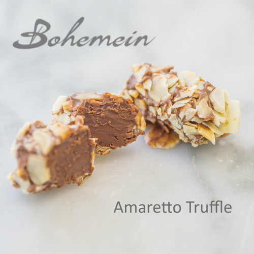 Bohemein Amaretto Truffle. A heady blend of ever-so-slightly bitter amaretto liqueur, rolled in toasted almonds and milk chocolate.