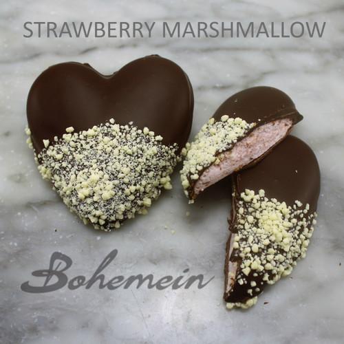 Bohemein Fresh Strawberry Marshmallow -  Milk chocolate Base, coated in 53% Dark chocolate and sprinkled with White chocolate.