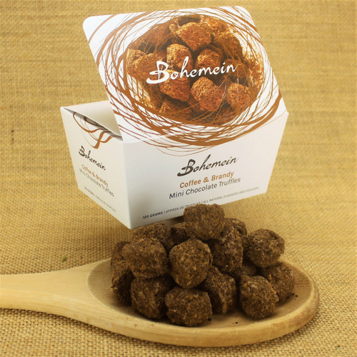 Bohemein Coffee & Brandy Mini Chocolate Truffle is 70% dark chocolate, coffee and brandy ganache. Coated in milk chocolate and rolled in freshly roasted ground coffee beans and coconut sugar