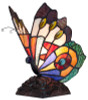 Tiffany Style Stained Glass Soaring Butterfly Accent Lamp