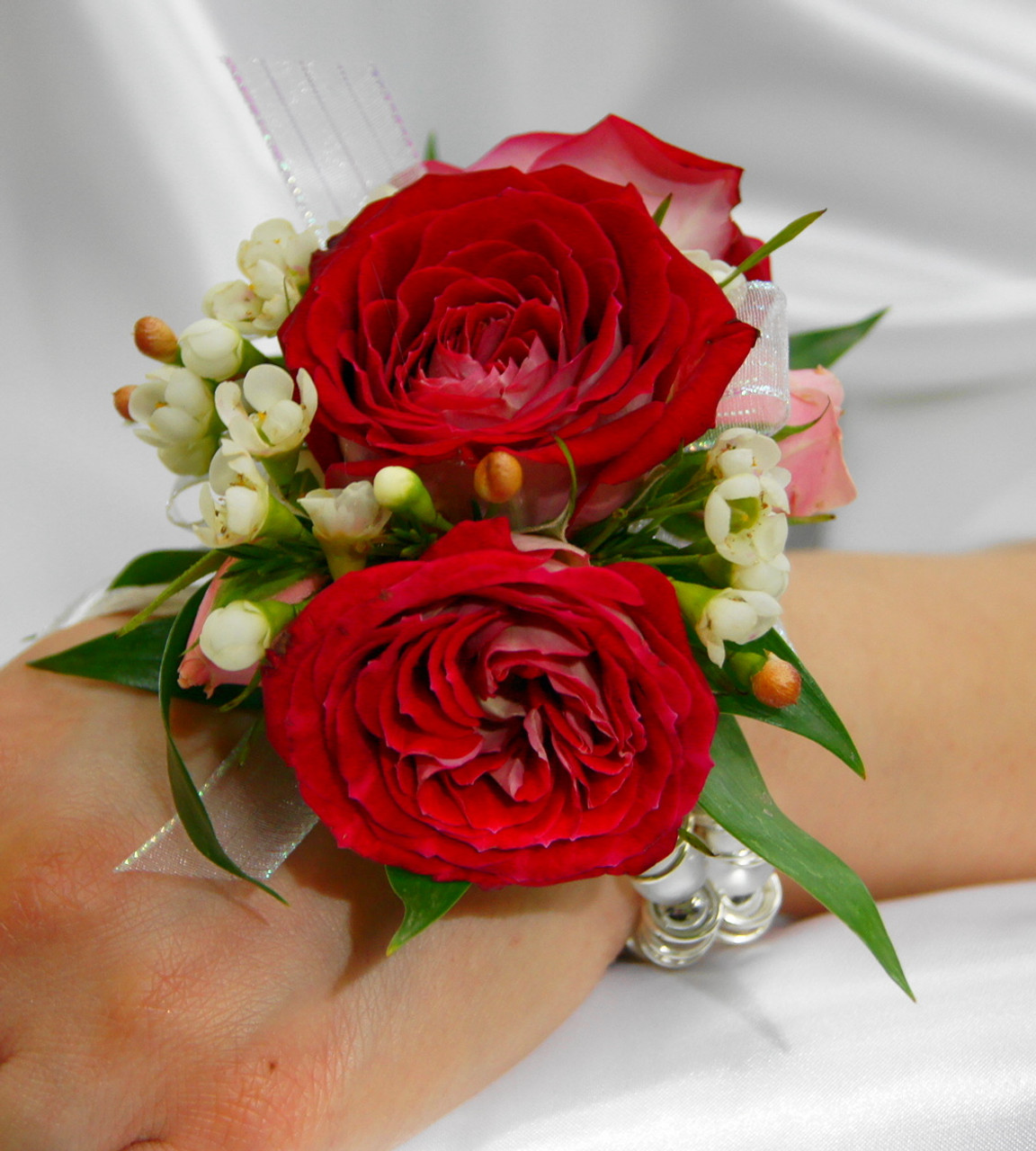 Red and white wrist corsage soderbergs floral and gift red and white wrist corsage mightylinksfo Gallery