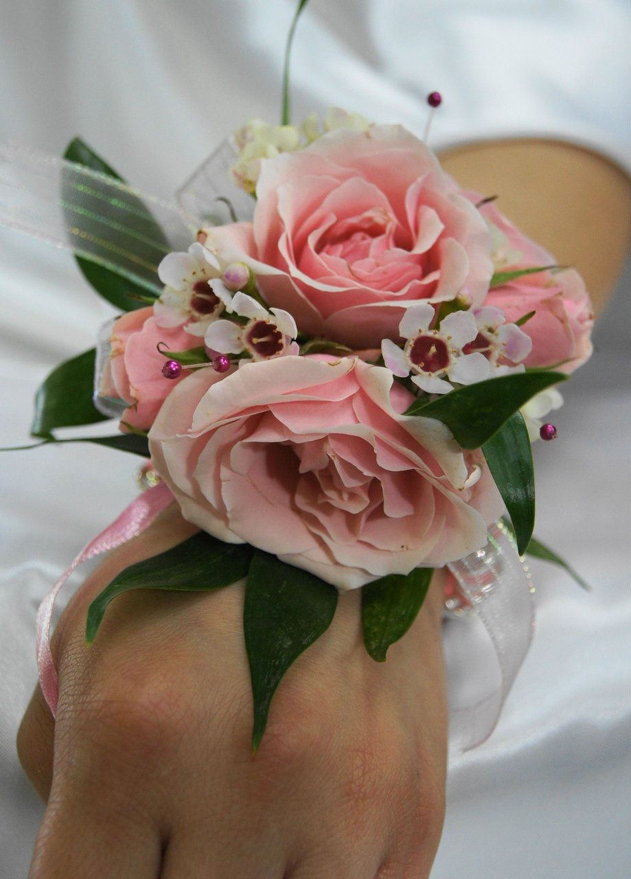 Wrist Corsage: Pink And White Rose Wrist Corsage