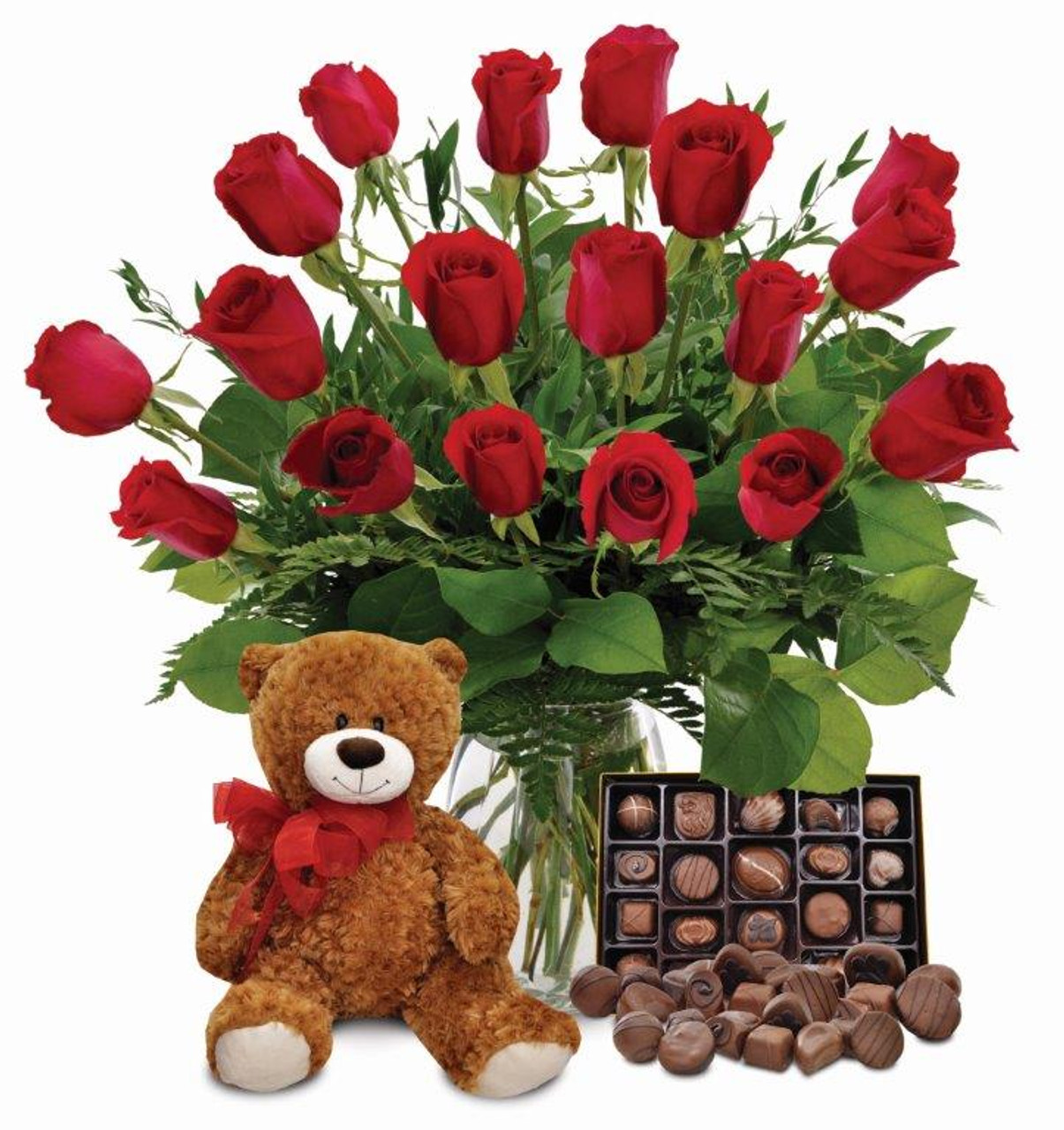 Teddy bear with pink roses - photo#39