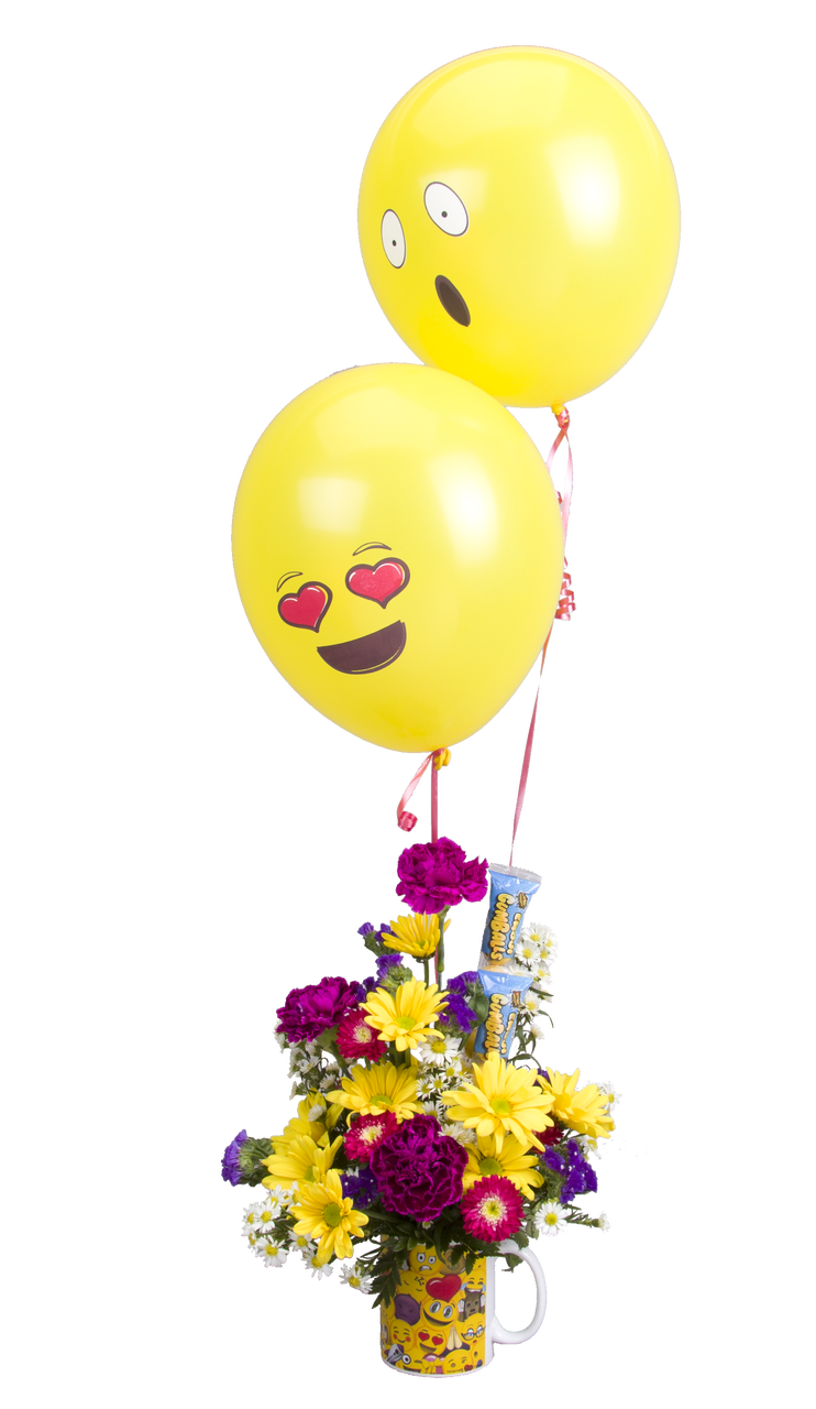 Soderbergs Exclusive Emoji Mug With Flowers And Balloons
