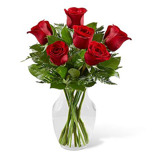 6 Red Rose Simply Enchanting Rose Bouquet