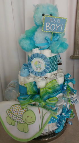 3 Tier Blue Diaper Cake