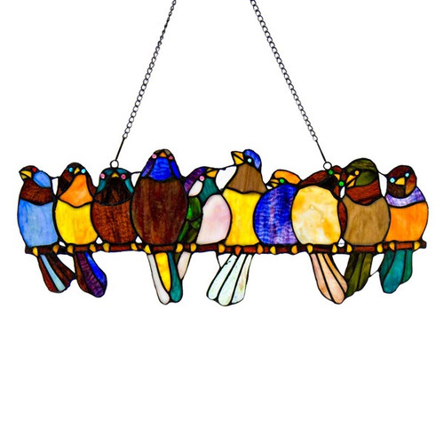 Birds On A Wire Window Stained Glass Panel