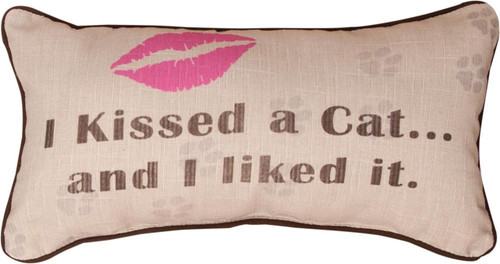 Kissed a Cat Throw Pillow