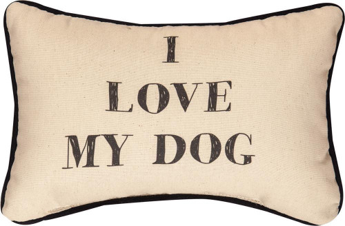 I Love My Dog Decorative Word Pillow