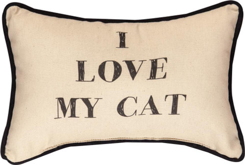 I Love My Cat Decorative Word Pillow