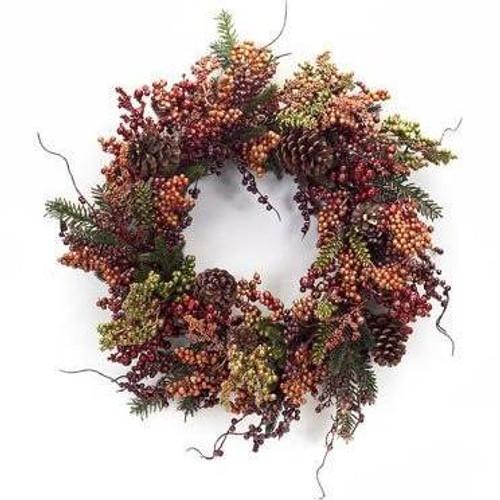 Metallic Berry and Pine Wreath