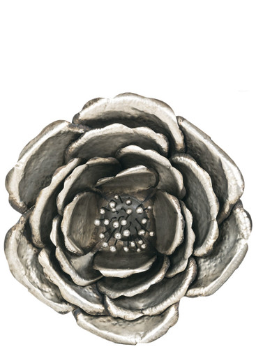 "39"" Metal Silver Cabbage Rose"