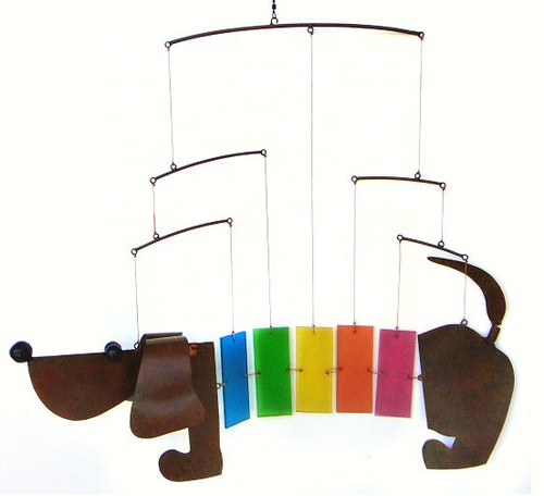 Rainbow Dauchshund Metal and Glass Moblie