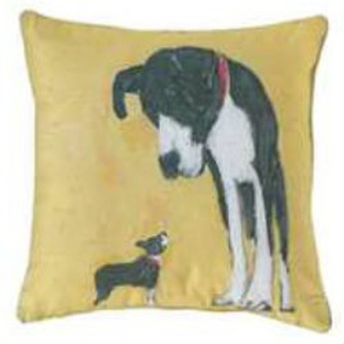 Cotton Pillow With Dog Yellow